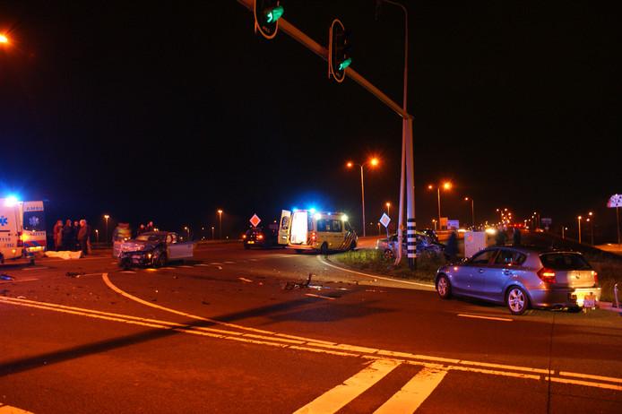 De ravage na het ongeval op de afrit A12 richting Veenendaal.