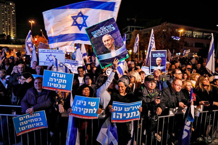 Aanhangers van premier Netanyahu demonstreren in Jeruzalem. Beeld AFP