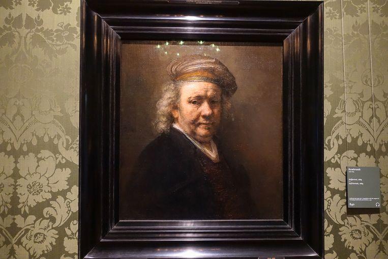 Een zelfportret van Rembrandt in het Mauritshuis Beeld null