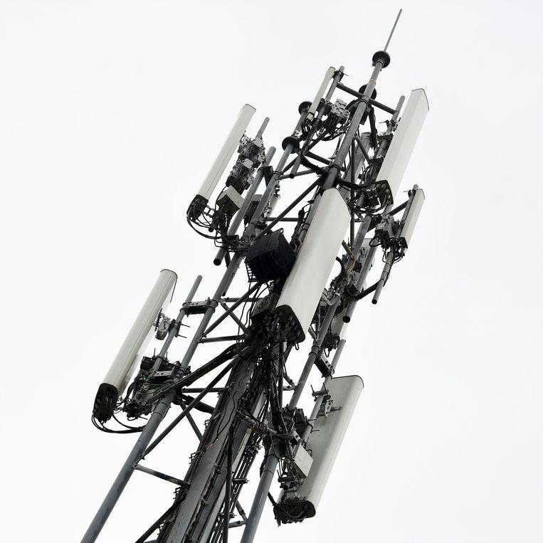 Een 5G-zendmast bij Peltheide, Belgisch Limburg.   Beeld AFP