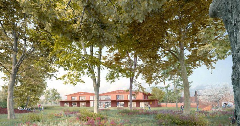 Een 3D-beeld hoe B-ILD het nieuwe schoolgebouw voorlopig ziet.