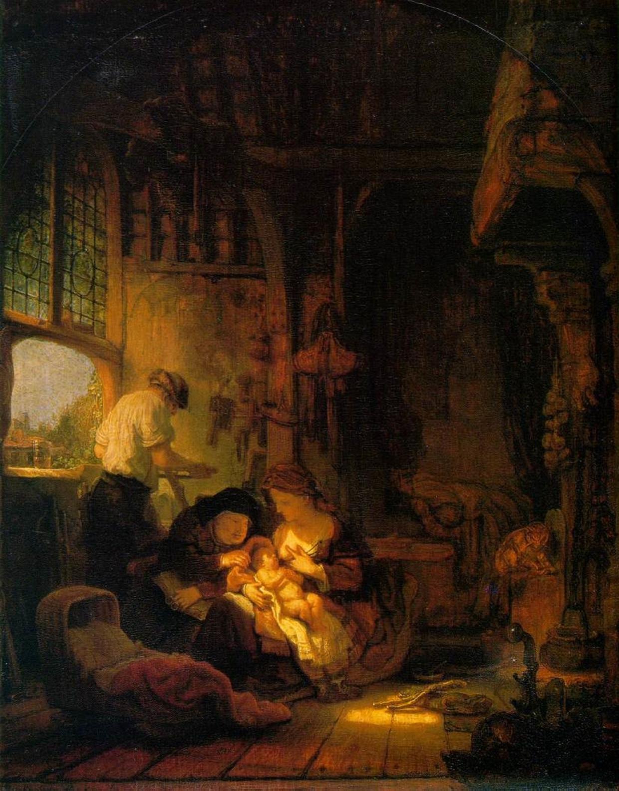 Rembrandt, De heilige familie met Anna (ca. 1640) in Musée du Louvre, Parijs.