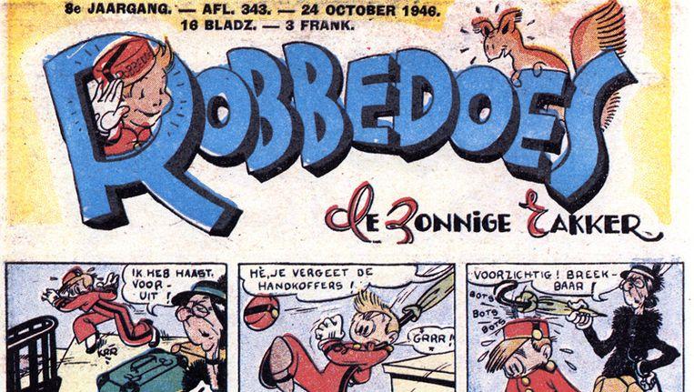 Een stukje strip van Robbedoes uit 1946 Beeld Stripspeciaalzaak.be