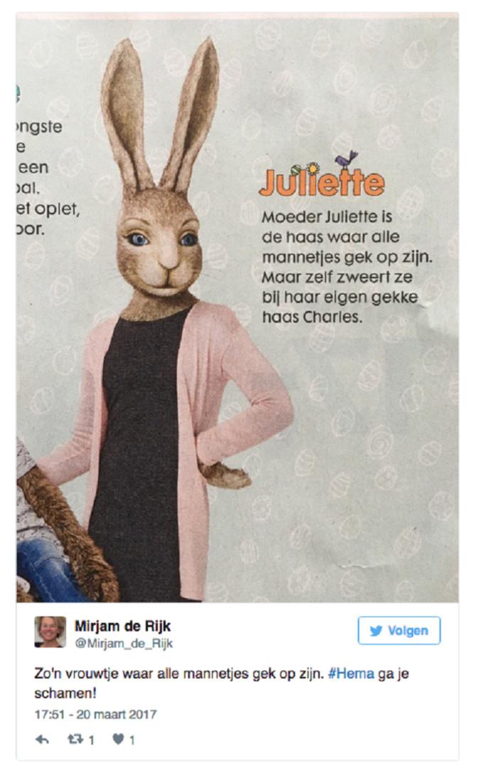 De inmiddels verwijderde tweet van oud-politica Mirjam de Rijk.