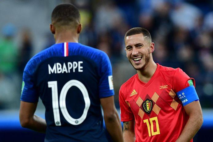 Kylian Mbappe et Eden Hazard lors de la demi-finale du Mondial 2018