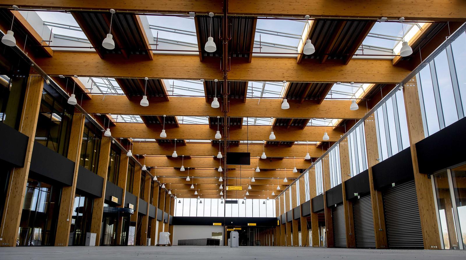 Het 'voorportaal' van de nieuwe terminal van Lelystad Airport.