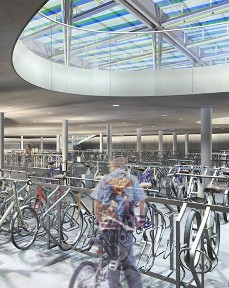 Toekomstbeeld van de ondergrondse fietsenstalling.