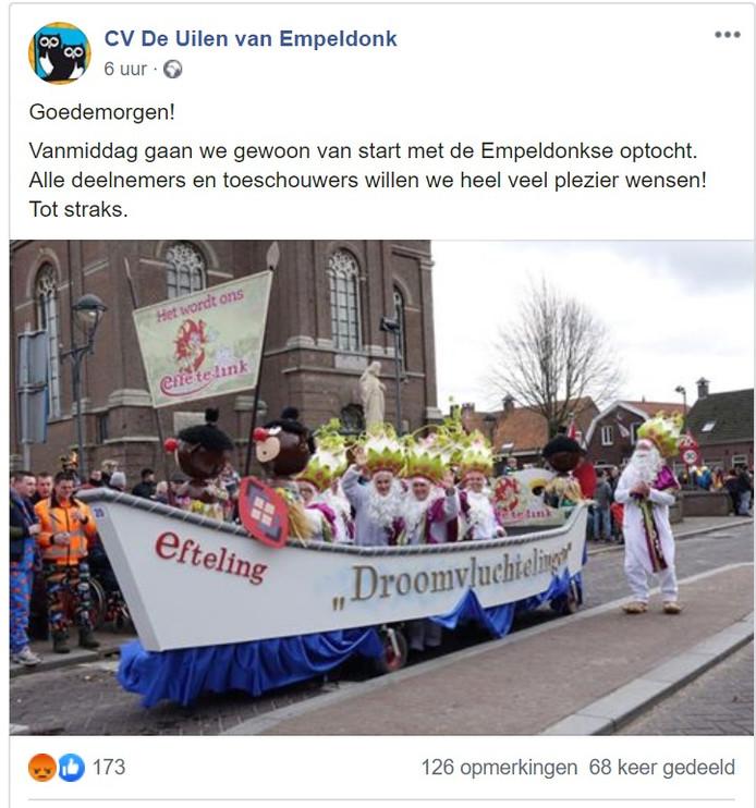 Deze omstreden Facebook-post van de carnavalsvereniging in Erp werd nog dezelfde dag verwijderd.