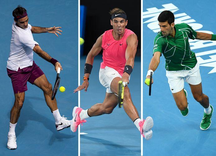 De Grote Drie (vlnr): Roger Federer, Rafael Nadal en Novak Djokovic.