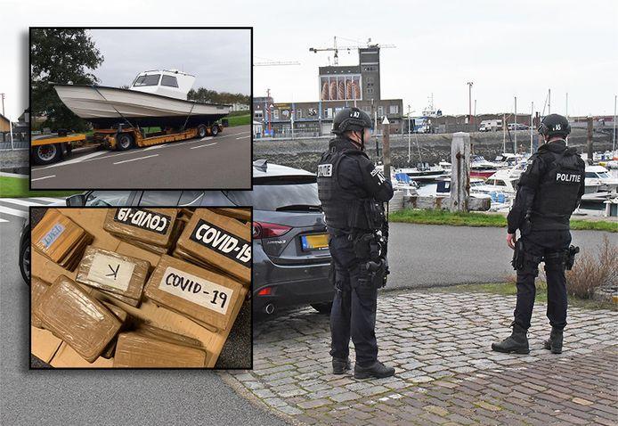 Zwaarbewapende politieagenten hielden in de haven van Breskens drie mannen uit Kampen, Urk en Zwolle aan op een speedboot met een grote hoeveelheid cocaïne.