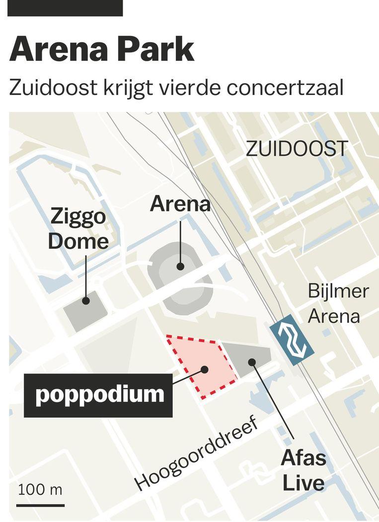 De nieuwe concertzaal in het gebied rond de Amsterdam Arena moet een capaciteit van 1500 bezoekers krijgen Beeld Laura van der Bijl