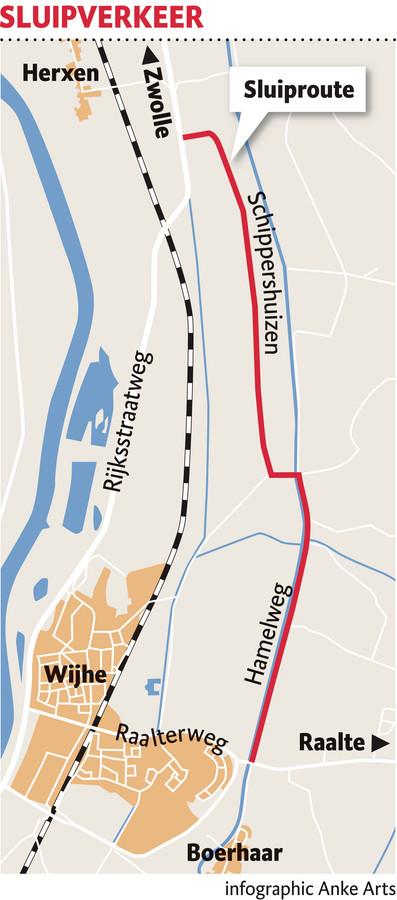 Vanuit Zwolle ging sluipverkeer graag vanaf de Rijksstraatweg via de Schippershuizen en de Hamelweg naar de Raalterweg richting Raalte.