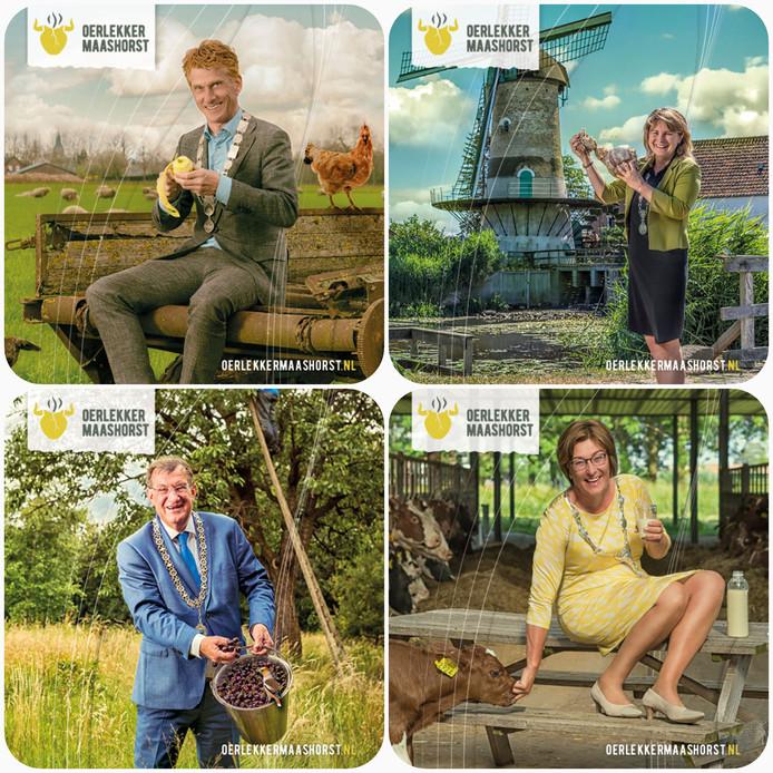 De vier Maashorst-burgemeesters in een zonniger tijd; in de zomer van 2018 werkten ze mee aan een campagne.