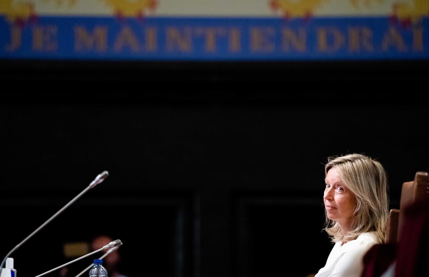 Minister Kajsa Ollongeren vanmiddag in de Eerste Kamer