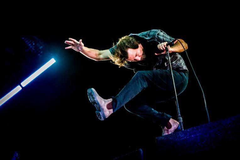 Pearl Jam op Werchter. De groep stond vorig jaar op de eerste plaats in 'De Tijdloze'.