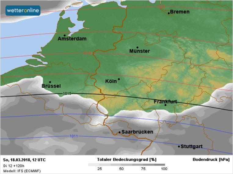 Op zondag krijgen we een vrij zonnige dag. Ook dan blijft het koud met maxima net boven het vriespunt.