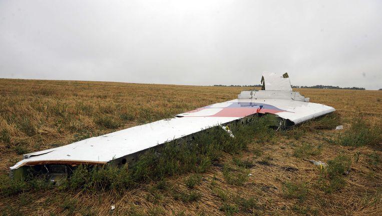 Een brokstuk op de rampplek van vlucht MH17. Beeld AFP