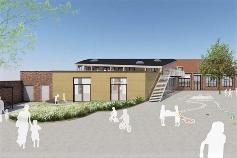 Een simulatiebeeld toont hoe het nieuwe lokaal er uit zal zien.
