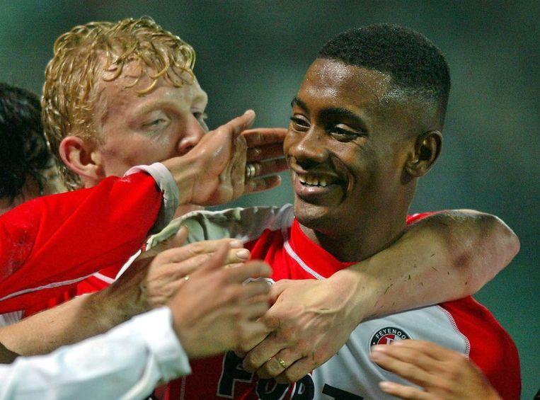 Dirk Kuyt en Salomon Kalou in hun gezamenlijke periode bij Feyenoord. Beeld anp
