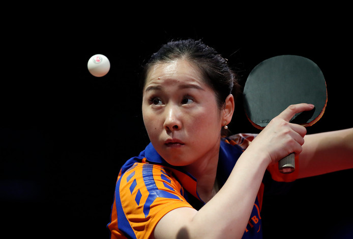 epa07523740 Jie Li of The Netherlands plays against Dora Madarasz of Hungary during their women's single round of 64 match of the World Table Tennis Championships in Budapest, Hungary, 23 April 2019.  EPA/Tibor Illyes HUNGARY OUT
