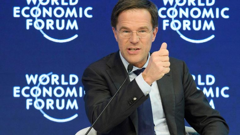 Rutte tijdens het World Economic Forum in Davos, Zwitserland. Beeld epa