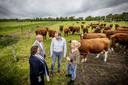 Wethouders Ilse Duursma en Benno Brand in gesprek met Dennis Rerink en Annette van Gaalen van Erfgoed Bossem in Lattrop. Op hun Saksische boerderij combineren ze het houden van Brandrode Runderen met het aanbieden van overnachtingen in een sterrenkubus.