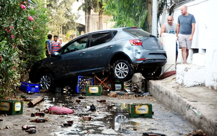 Schade na een aardbeving in 2017 in Turkije.