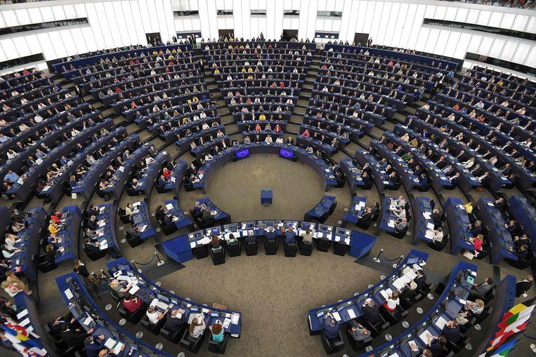 De plenaire zittingszaal in het Europees parlement in Straatsburg.