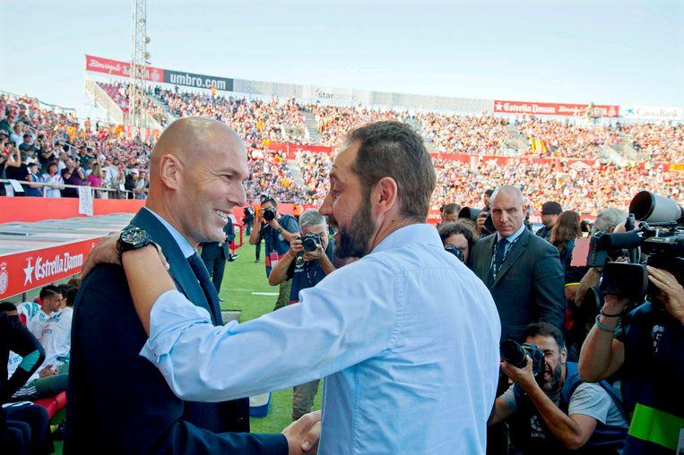 Pablo Machin schudt Zidane de hand voor Girona - Real Madrid. Na negentig minuten stonden er 2-1-cijfers op het bord.
