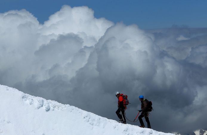Bergbeklimmers op de Mount Blanc.
