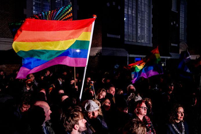 AMSTERDAM - Burgemeester Femke Halsema tijdens de Viering van de Liefde. De manifestatie op het Homomonument wordt gehouden in reactie op de orthodox-protestantse Nashville verklaring, waarin homoseksualiteit wordt afgewezen. ANP ROBIN UTRECHT