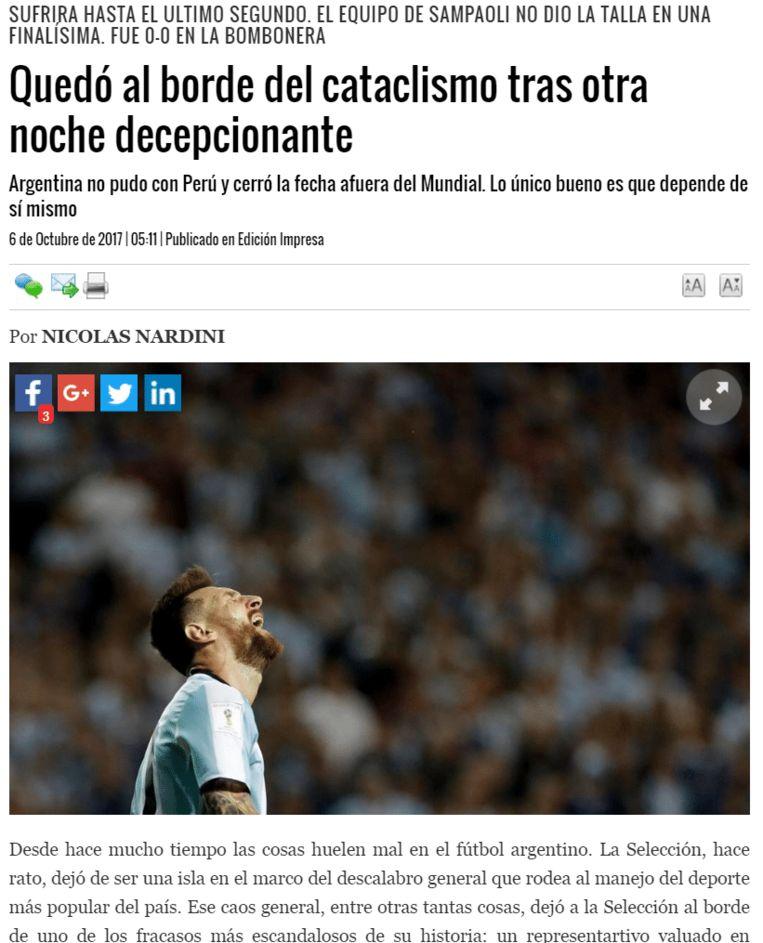 El Dia had het over een 'teleurstellende' avond'.