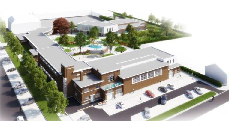 Een toekomstbeeld van de nieuwe schoolsite.