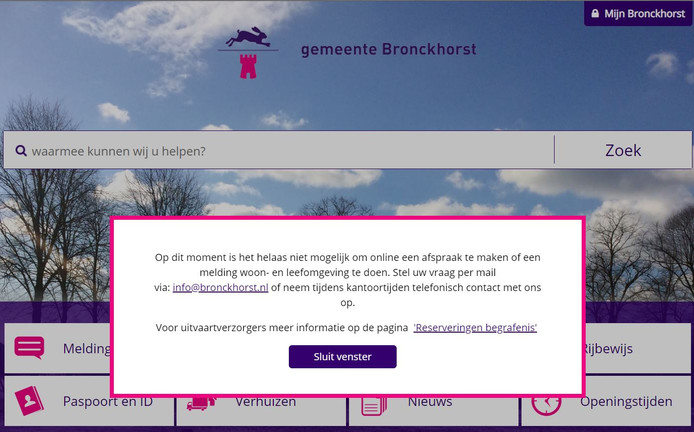De melding op de website van Bronckhorst.