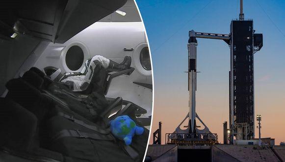 De Crew Dragon vertrekt op hetzelfde lanceringsplatform als de legendarische Appolovluchten naar de maan. Links Ripley, die klaarzit voor vertrek. Naast haar een toestel dat de zwaartekracht registreert, zo meldt Elon Musk op Twitter.
