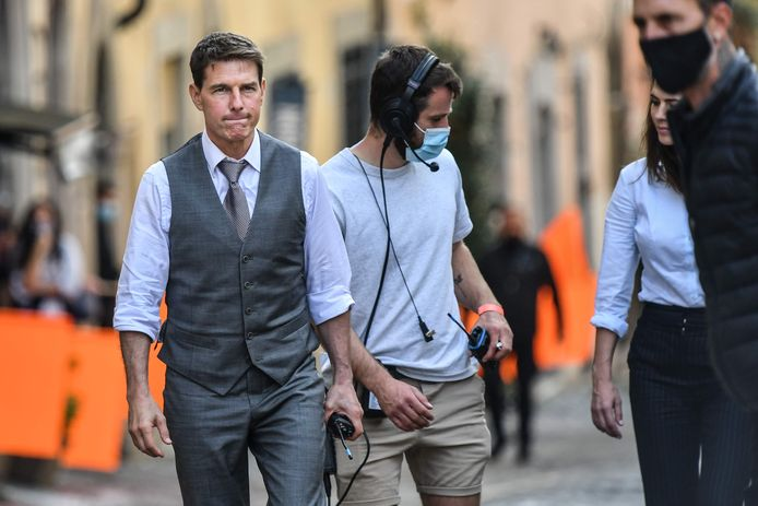 Tom Cruise tijdens opnames van Mission: Impossible 7 in Rome.