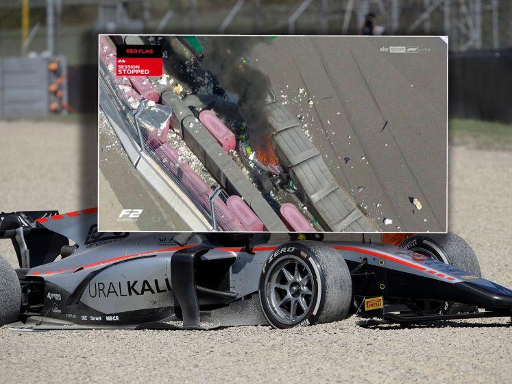 Zware crash: Formule 2-race gestaakt