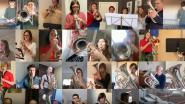 Niet op het podium, wel achter hun computer: fanfares brengen virtuele versie van 'We zullen doorgaan'