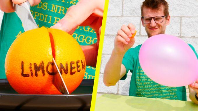 Zo laat je een ballon knallen... met een sinaasappel