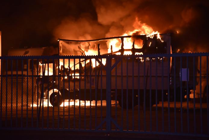 Vrachtwagens in brand in Nijmegen