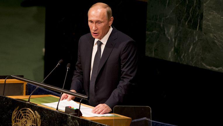 De Russische president Vladimir Poetin tijdens een toespraak. Beeld ANP