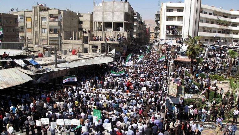 Anti-regeringsdemonstratie afgelopen vrijdag in Damascus. Beeld ap