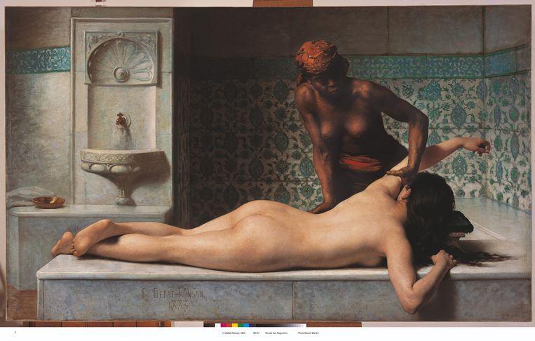 Édouard Debat-Ponsan, Le massage. Scène de hammam, 1883, Musée des Augustins Toulouse. Olieverf op doek,  127x210 cm  Beeld © Daniel Martin