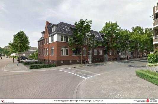 Impressie van de nieuwbouw, gezien vanaf de kruising van de Vloeiweg en de Baerdijk.