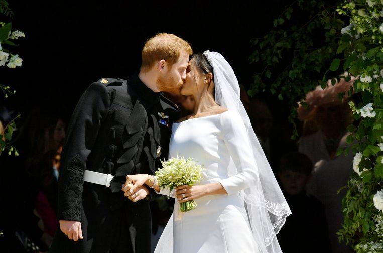 Prins Harry en Meghan Markle tijdens hun bruiloft.