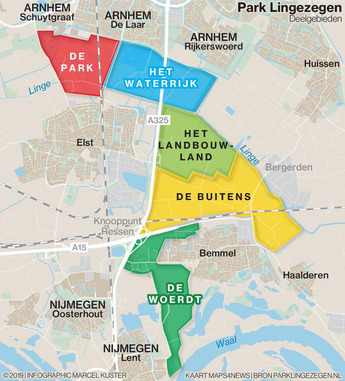 Overzicht van alle deelgebieden van Park Lingezegen.