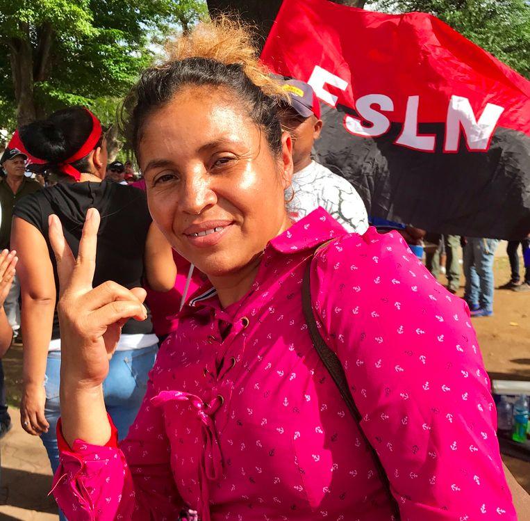 Carla Tenorio: 'De meeste Nicaraguanen zijn hardwerkende mensen. We kunnen niet toelaten dat een groep vandalen de rust verstoort.' Beeld Marjolein van de Water