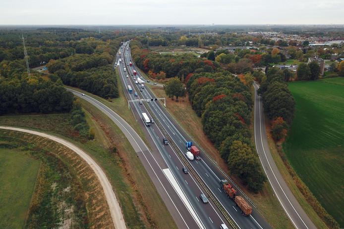 De A67 bij Geldrop richting Eindhoven.