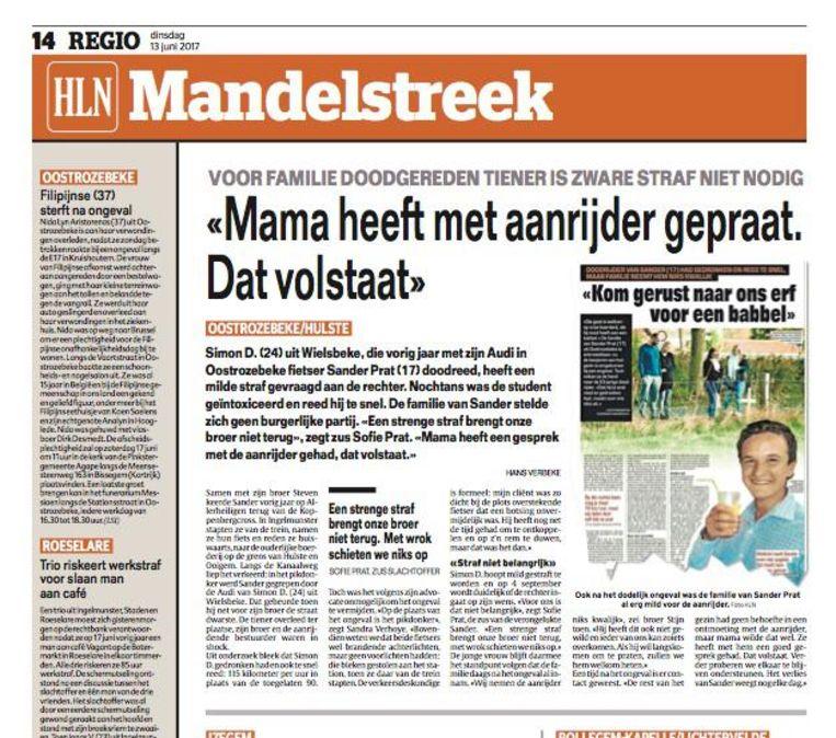 Dit artikel verscheen op 13 juni in onze krant. Toen stuurde de familie van Sander Prat zelf aan op een milde straf voor Simon D. Maar dat de aanrijder van Sander niet zou veroordeeld worden voor het ongeval zelf, hadden ze niet verwacht.