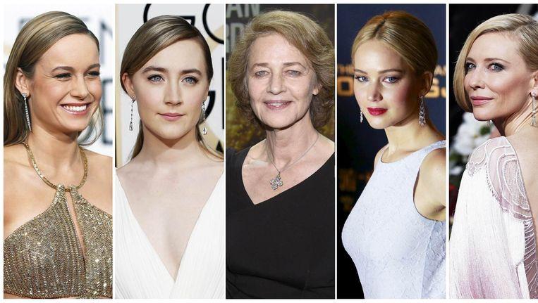 De genomineerden voor beste actrice, met in het midden Charlotte Rampling. Beeld reuters